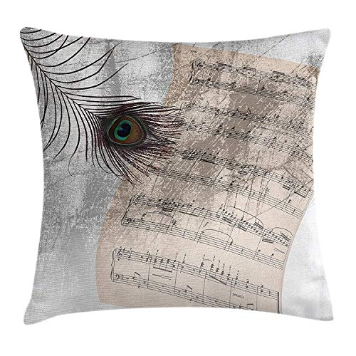 Cushion Cover, Music Notes Sheet Texture with Peacock Feather Evil Eye on Antique Style Musical Theme, Decorative Square Accent Pillow Case, 18 X 18 inches, Beige ()