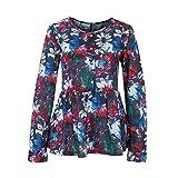 Damen Große Größen Langarm Bluse Frauen Blume Rundhals Ausschnitt Hemd Locker Freizeit Pullover Oberteil Tops. (Dunkelblau, S)