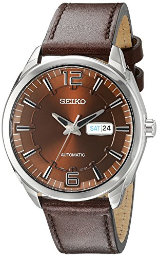 Seiko Mens SNKN49 RECRAFT Automatic Analog Display Japanese Automatic Brown Watch