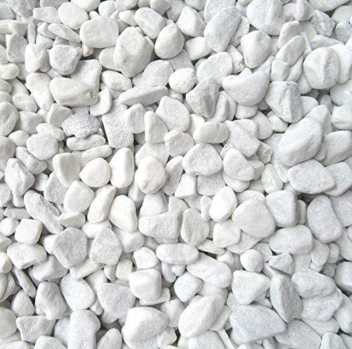 Doubleyou Geovlies & Baustoffe Dekosteine weiß 6-9 mm. (Marmorkies) (Weiss, 1 kg)