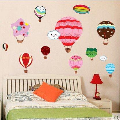Wandaufkleber Pvc Kann Kinderzimmer Cartoon Ballon Wandpaste Baby Zimmer Wand Dekorative Aufkleber Kindergarten Glas Doppelseitigen Aufkleber Entfernen 125x80CM Candy Heißluftballon