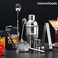 InnovaGoods Set de Coctelería con Recetario, Inoxidable, Acero