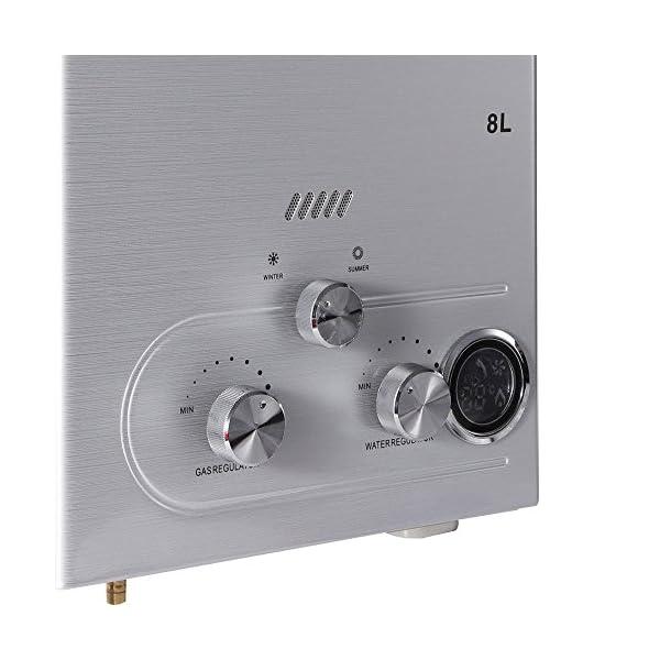 Calentador de agua de gas natural, 8/12/16 L, tanque de agua, montaje en pared, depósito de agua con juego de ducha