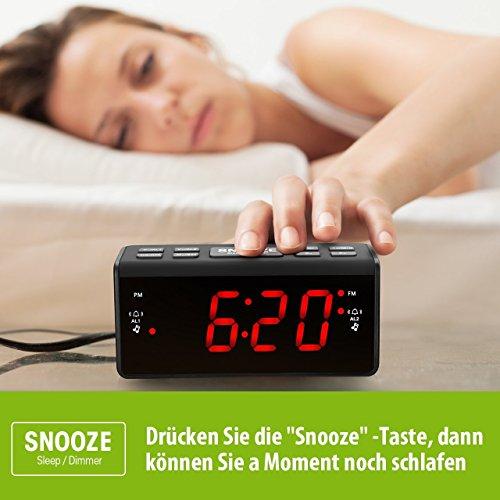 Radiowecker HoLife FM/AM Uhrenradio Digitales Uhren-Radio LED Wecker LED-Display Dual-Wecker mit Schlummerfunktion Schwarz - 4