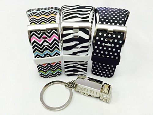 BSI Set 3 - 1pc Zebra Color 1pc Black with White Dots and 1pc Zigzag Rainbow Design Replacement Bands For Samsung Gear S Smart Watch Smartwatch Wireless + Free Silver Metal Truck Keychain with BSI(TM) LOGO