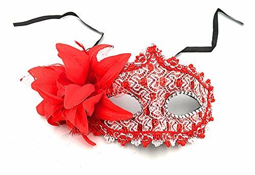 z Masquerade Augenmaske Party Ball Masquerade Fancy Damen Kleid Mardi Gras Maske Halloween Kostüm Zubehör, rot ()
