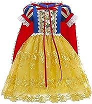 OBEEII Blancanieves Disfraz con Capa Snow White Carnaval Traje de Princesa Cuentos Infantiles para Halloween N