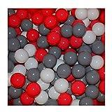 100 Bälle Ø 7cm Bälle für Bällebad viele bunte Farben Baby Kind Spielbälle Kugelbad Plastikbälle Blau Türkis Grau Pink Rosa Schwarz Weiss (Rot, Grau und Weiss)
