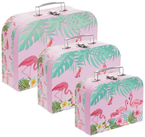 kbox Aufbewahrungsbox Koffer mit Griff - Stabiler Karton - 3er Set in absteigender Größe - Flamingo ()