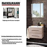 Fackelmann Badmöbel Set B.Clever 2-tlg. 60 cm Esche mit Waschtisch Unterschrank inkl. Gussmarmorbecken & Spiegelelement