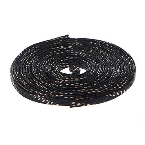 GROOMY (10m Kabelmantel aus geflochtenem Maschenrohr schwarz + 3 Golddrahtanteile - 6mm