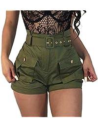 Damen Hosen Sommer Elegant LHWY Frauen Mädchen Shorts Taschen Wide-Bein  Grün Kurz Shorts Latzhose a0b45319f1