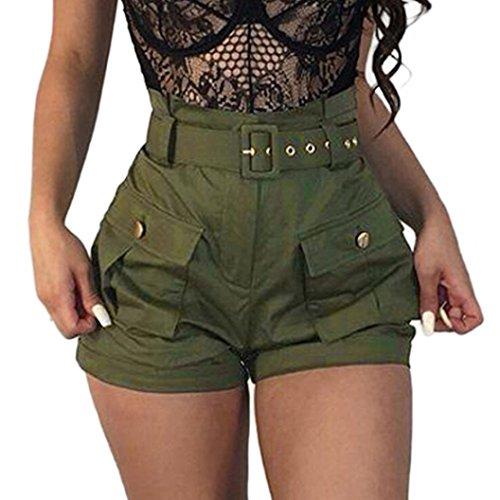 Damen Hosen Sommer Elegant LHWY Frauen Mädchen Shorts Taschen Wide-Bein Grün Kurz Shorts Latzhose Overalls mit Gürtel High Waist Sport Freizeithosen (XL, Green)