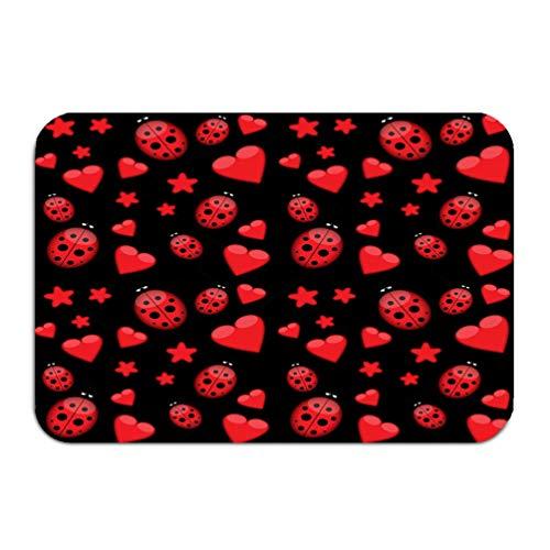 Sdfwerweq carpet rug door mat dark love pattern ladybug stars red ladybirds hearts retro 16 * 24 inch