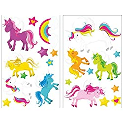 21Ã'Â Piece Unicorn Wall Tattoo Set for Child's Bedroom Baby Room, 2x 16x26cm