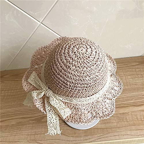 WGYXM Hut, Sommer Twist gewebt Sonnenstrohhut, Kinder Faltbare Bogen Fischerhut, rosa A, S -
