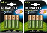 Duracell AA 2500mAh Recharge Ultra Rechargeable Batteries - Pack of 4 - Pre Charged / Stay Starged Replace 2400 (8 Pack)