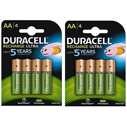 Duracell Duralock Akku PreCharged (AA, HR6, 1,2 Volt, 2500mAH) 8 Stück (Wiederaufladbare Batterien Duracell)