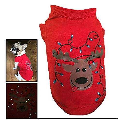 Pet Love Tshirt Xmas Pull de Noël de Noël Costumes pour Chiens et Chats - LED Lumineux