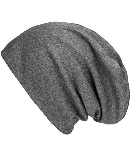 caripe leichte Long Beanie Mütze unisex viele Farben - su99 unifarben (grau meliert - sm93)