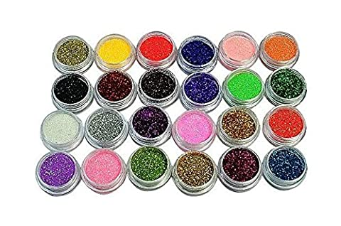 Liroyal 24 Color Metal Glitter Nail Art Tool Kit Acrylic UV Powder Dust Gem Stamper