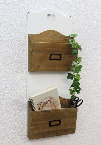 DanDiBo Wandregal Postbox mit Herz Zeitungsständer 12028 Regal 63cm Küchenregal Wand Zeitungshalter im Landhaus Look Vintage Shabby Chic -