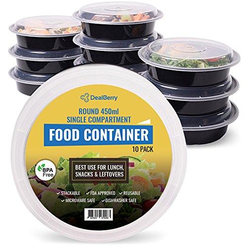 dealberry redondo sin BPA comida Prep recipientes. Reutilizable fiambreras de plástico con tapas. Apilable, para microondas, congelador y lavavajillas Bento Lunch Box Set (10unidades)–450ml, 700ml o 900ml