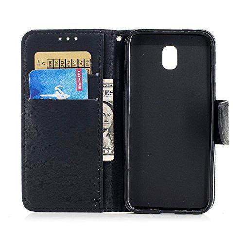Ansicht vergrößern: Cozy Hut Premium Luxuriös PU lederhülle Schutzhülle Flip Tasche Wallet Case mit Standfunktion Kreditkartenfach Flip Brieftasche Schutzhülle im Bookstyle für Samsung Galaxy J5 2017 - schwarz