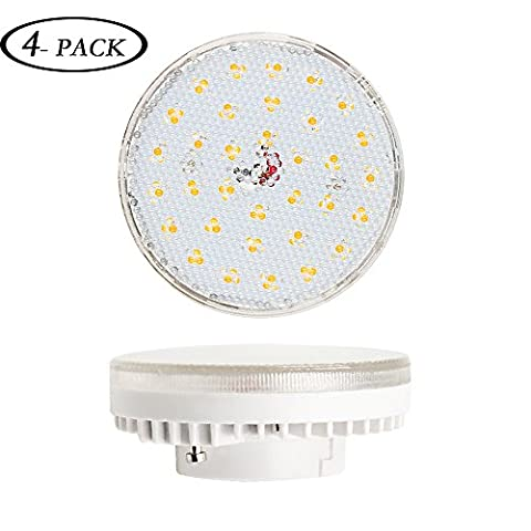 Lustaled GX53 6W LED Light Bulb Disc Style AC 240V Warm White 3000K 60W CFL Replacement For Kitchen Units/ Display Cabinets/ Under-shelf Lighting/ Closet/ Workstations/ Corridors and Staircases etc(4 Pack)