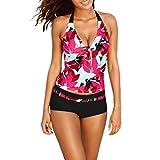SHOBDW Damen Floral Drucken Bikini Set Schnür Push-up Gepolsterte BH Beach Swimwear Badeanzug Baden Beachwear