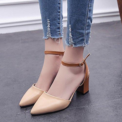 XY&GK Chaussures femmes Sandales Chaussures High-Heeled avec bandage épais en bouche peu profondes sandales en été Yellow