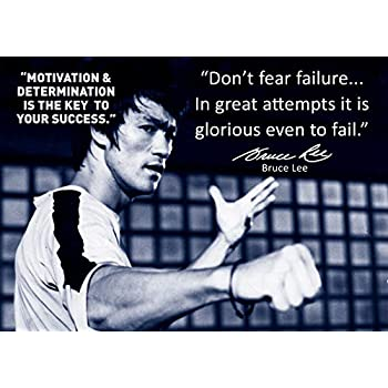 Quote Motivation Determination 2 Inspirational Bruce Lee Autographed
