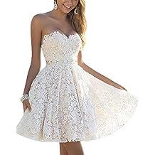Mini Vestido de Noche Corto de Mujer sin Espalda Encaje Cóctel Vestido de Fiesta