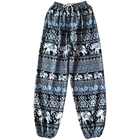 Oriental elefante Yoga pantalones Harem Pantalones Negro y Blanco