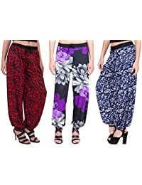 Adonia Women's Poly-Knit Lycra Printed Harem Pants ( Combo Of 3 )