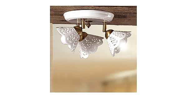 Plafoniere Con Lampadina A Vista : Plafoniera lampada da soffitto a tre luci con piatto in ceramica