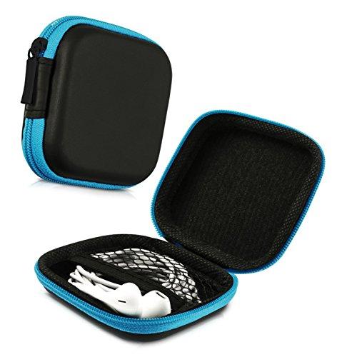 Lucklystar® Tasche für Kopfhörer Quadrat Einfach Design Kopfhörer Tasche Kopfhörer Schutztasche Case Hardcase Schutztasche und Weiches Stoffinnenfutter für Kopfhörer Kabel Münze Oder Andere Kleine Objekte1PCS(Blau) Einfach Designs