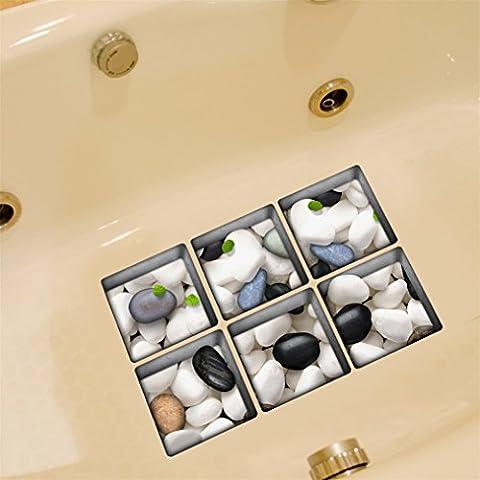 Baignoire Accessories, Stillshine 6 Pièces 3D Colorful Blanc et Pierres Noires Baignoire Impermeable Antidéparant Autocollant Bathtub Stickers Pour Sécurité Douche et Salle de Bain