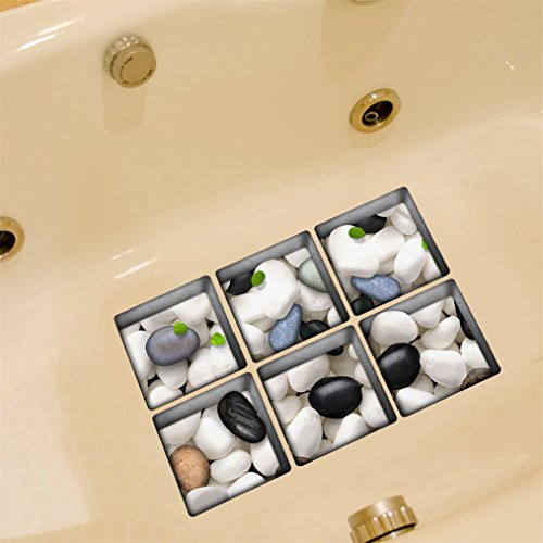 Anti Rutsch Aufklebers, Stillshine 6 Stück Quadratisch 130X130cm 3D Real Vinyl Anti-RutschWasserdicht Badewanne Sticker Badewannenaufkleber für Sicherheit Duschen Badezimmer (Stein) (Gelb-eis-wanne)