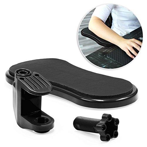 Urcover® Ergonomische Schreibtisch Arm-Auflage Schwarz [ 18kompatibel mit 0 Grad drehbar ] für eine optimale Entlastung von Schulter-, Arm-Muskulatur Computer Armlehne flexibel einstellbar