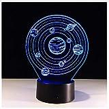 Die Sonnensystem Planeten Modell 7 Farbwechsel LED 3D Nachtlicht Luminarias Touch Rempte 3D Tabelle Stimmung Lampe Dekoration
