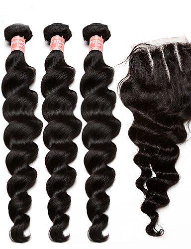 JFF/ malaysisches reines Haar mit Verschluss 5x5 lose Welle der Menschenhaarverlängerungen mit Schließung 4pcs Top-Qualität , 24 24 24 & 16-3 part (Haar-schließung Malaysische)