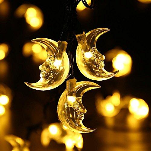 JOJOO solare LED luci della stringa Christmas Lights - 20ft (5m) 30 LED scaldano Luci corda bianca da esterno a forma di luci impermeabili Luci originale luna per la festa di Natale, Albero di Natale, giardini, patio, Prato, Paesaggio, matrimoni e vacanze decorazione LT014