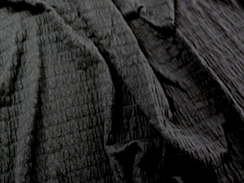 Ruffled Stretch Jersey Dress Fabric Black - per metre by Minerva Crafts -