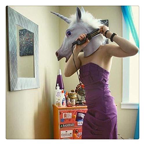 Z-one 1 Weiße Pferde-Maske mit Zebra-Maske - Halloween-Kostüm Party Latex Tier-Kopfmaske
