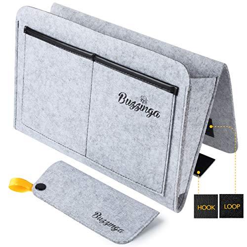 Buzzinga Nachttisch-Organizer für Bett, Hängetasche, Aufbewahrungstasche für den Nachttisch, 30,5 x 25,4 x 27,9 cm, mit Filz-Brillenetui (8,1 x 17 cm) grau -