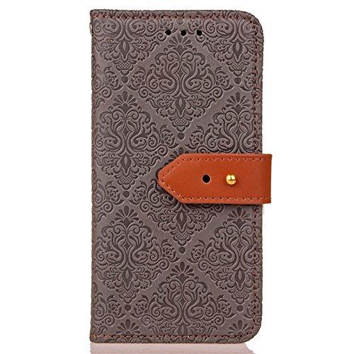 YHUISEN Galaxy S5 Case, Magnetverschluss European Style Wandgemälde Prägeartig PU Leder Flip Wallet Case Mit Stand Und Card Slot Für Samsung Galaxy S5 i9600 ( Color : Black ) Gray