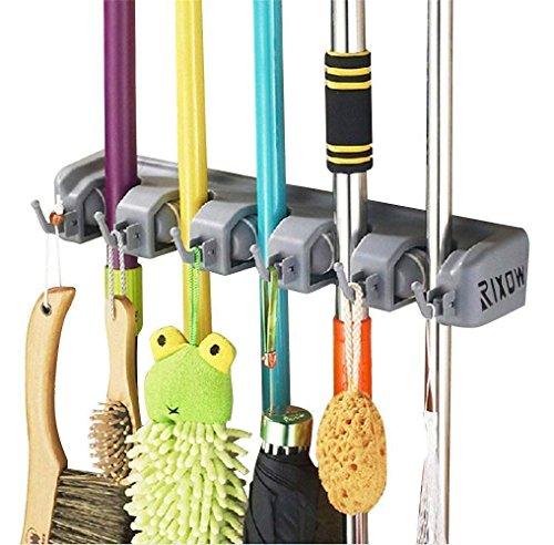 Gerätehalter Wandhalterung, Rixow Ordnungsleiste Wandhalter mit 5 Haken und 6 Schnellspannern für Mopp ,Besen und Gartenwerkzeug usw.