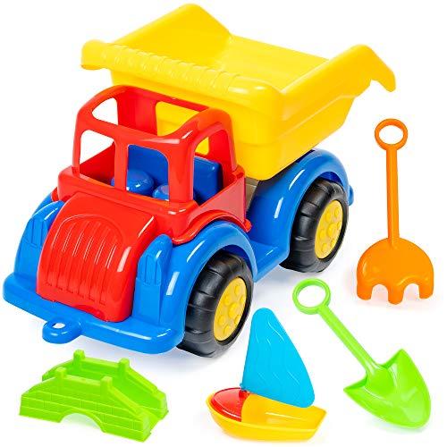 6-teiliges Strand Muldenkipper-Set - perfektes Spielzeug für Strand, Sandkasten spielzeug, sandspielzeuge bagger lkw und kipper set, Park Spieplatz oder Garten - Lkw Kipper, gefüllt mit Eimergarnitur