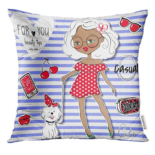 jiilwkie Throw Pillow Cover Cute Girl and Pet Young Teen Went for Walk with The Dog Cartoon Lady Colorful Sketch Little Model Casual Decorative Pillow Case Home Decor Square 18